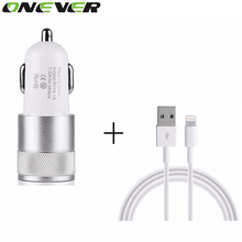 3 Colors Universal Dual USB Car Charger+ USB Charging Data Cable For iPhone 5 5s 6 6s Apple Tablet  USB Data Cable Car Charger