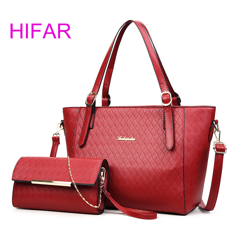 Women Fashion Composite Bags 2 PCS/Set Handbags High Quality Female  Shoulder Bags Solid ladies Messenger Bag Weave pattern<br>