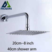 "Free Shipping 8"" Stainless Steel Shower Head Wall Mount Ultrathin Showerhead Brass Shower Arm/bracket Chrome Finish(China)"