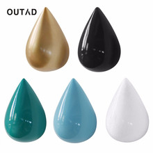 OUTAD 5 Colors Big Size Simple Fashion Decorative Drop Shape Wall Hook Room Wall Decoration Clothing Rack Bag Wall Holder