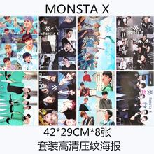 8 pcs/set different designs A3 Posters KPOP Monsta X group Paintings Wall Pictures Blackboard Sticker free shipping(China)