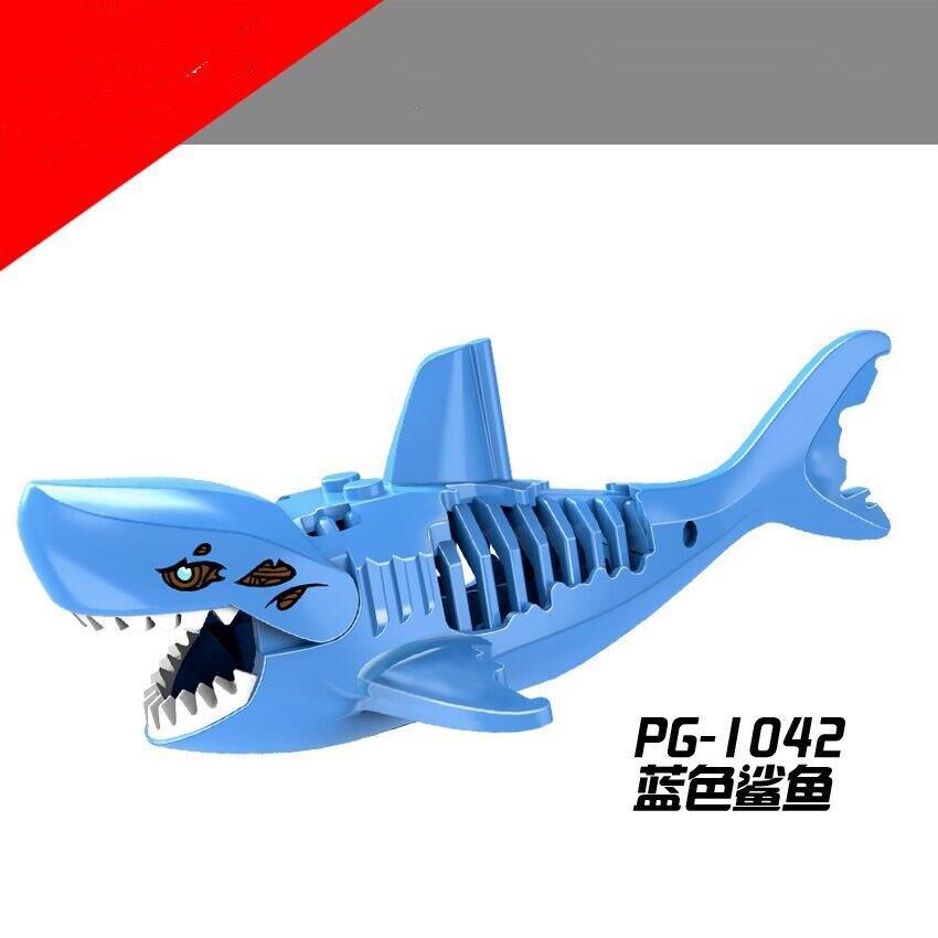 1Pcs Shark Blocks Shark Figure Creative Animal Building Blocks Compatible Duploed Shark Toy Plastic Toys for Children (3)
