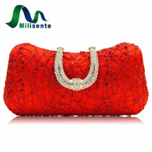 Milisente Red Designer Clutches Luxury Crystal Evening Bags Silver Women Tote Wedding Clutch Lady Purse With Chain(China)