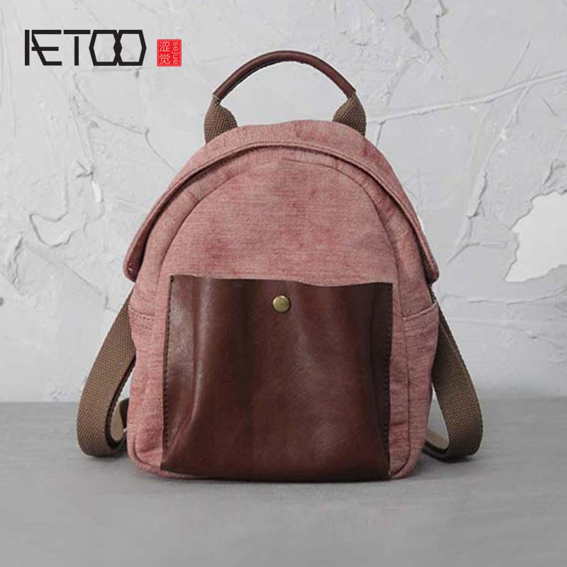 AETOO Original vintage Shoulder bag Cotton linen Womens small mini Backpack Multi-function Solid Color Casual backpack<br>