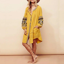 2016 Boho Ethnic Womens Loose Dresses Long Sleeve Strappy Tassels Ruffle Red Yellow Vestido Vintage People Ladies Dress Autumn(China)