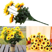 9 Heads Beauty Fake Sunflower Artificial Flower Silk Bouquet Home Floral Decor New Sale