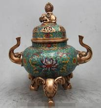 "S6270 10"" Marked Chinese bronze Cloisonne enamel Elephant beast statue lucky incense(China)"