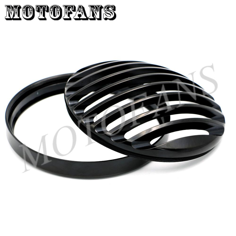 New Black 5 3/4 CNC Aluminum Motorcycle Headlight Grill Cover Guard for 2004-2014 Harley Sportster XL 883 1200<br><br>Aliexpress