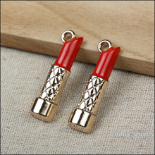 Buy Wholesale 20 pcs Enamel Alloy Gold-color Jewelry Scarlet Lipstick Pendants charms bracelet necklace DIY jewelry making for $6.46 in AliExpress store