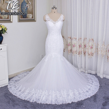 2018 Spaghetti Straps Plus Size Crystals Mermaid Wedding Dress 3204 Famous Design Bridal Gown robe de soiree Customized Made(China)
