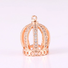 5pcs Supplies Bijoux Zircon Crown Beads For Jewelry Making Charm Micro Pave Crafts Wholesale Czech Beads High Quality