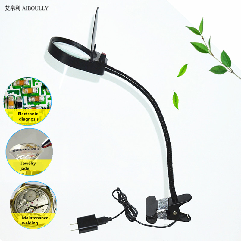 folder desktop magnifying glass with lights 10 times the LED lights for the elderly to identify electronic maintenance desk lamp<br>