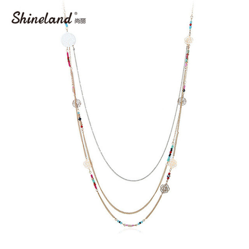 New Fashion Bohemian Jewelry Gold-color Colorful Beads Multi-layer Necklace For Women Hollow Out Life Tree Flower Long Necklace(China)
