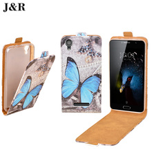 Flip Leather Case For Fly FS454 Nimbus 8 Vertical Cover Case For Fly FS454 J&R Cute Painting Protective Mobile Phone Bag & Cases(China)