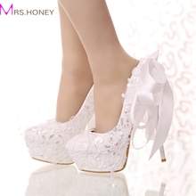 White Lace and Glitter Bride Shoes Round Toe Ribbon Bow Wedding Shoes High Heel Platform Women Party Dress Shoes Bridesmaid Pump