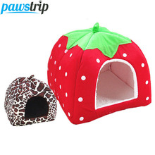 pawstrip 5 Size Cute Strawberry Dog Bed House Winter Cat Bed Leopard Pattern Foldable Dog House For Small Dogs perro