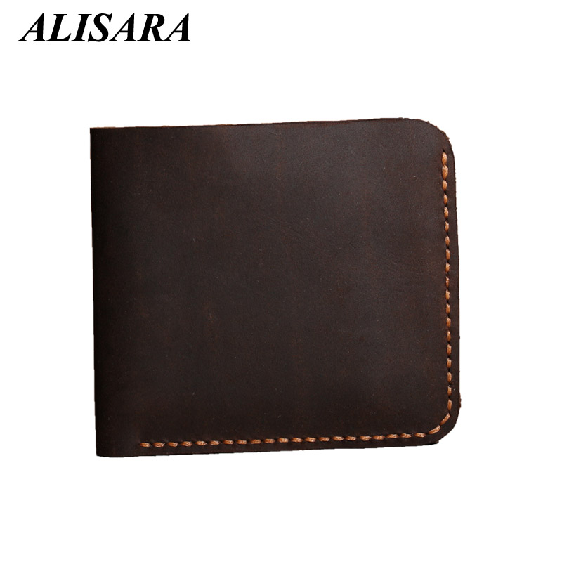ALISARA Men wallets Crazy Horse Leather 100%Handmade Top quality Cowhide Simple Bifold Wallet male clutch bag mens change purses<br><br>Aliexpress