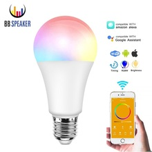 Led Bulb E27 Smart Wifi Light Bulb Alexa/Google Home 7W APP WIFI Remote Control Smart light Wifi Warm White RGB Lamp Bedroom
