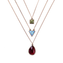Fashion Brand Long Chain Pendant Costumes Jewelry 2016 Modern Design 3 Layers Geometric Turquoise Stone Pendant Necklaces