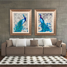 2017  5D Fashionable Diamonds Plated Embroidery Peacock Pattern Painting Cross Stitch Kit Home Bedroom Living Room Decoration