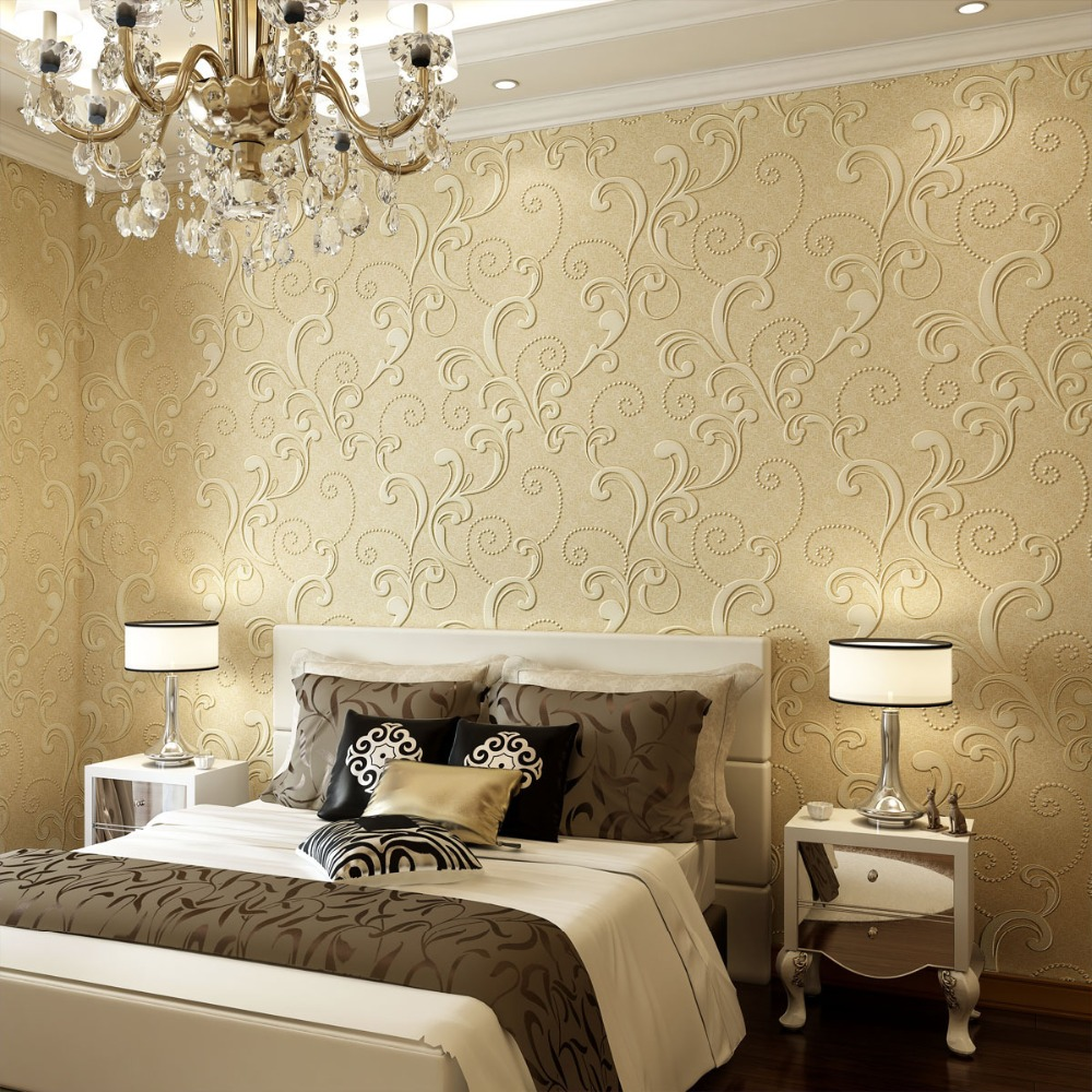 Modern Wallpapers Home Decor Non-Woven Floral Wall Paper 3D Living Room Wallpaper Roll for Walls European Acanthus Leaf Paper<br>