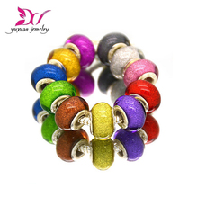 11 Dreamy colors Round Plastic Resin Acrylic Beads Charms Big Hole for aodora European DIY Jewelry Bracelet Bangle berloque(China)