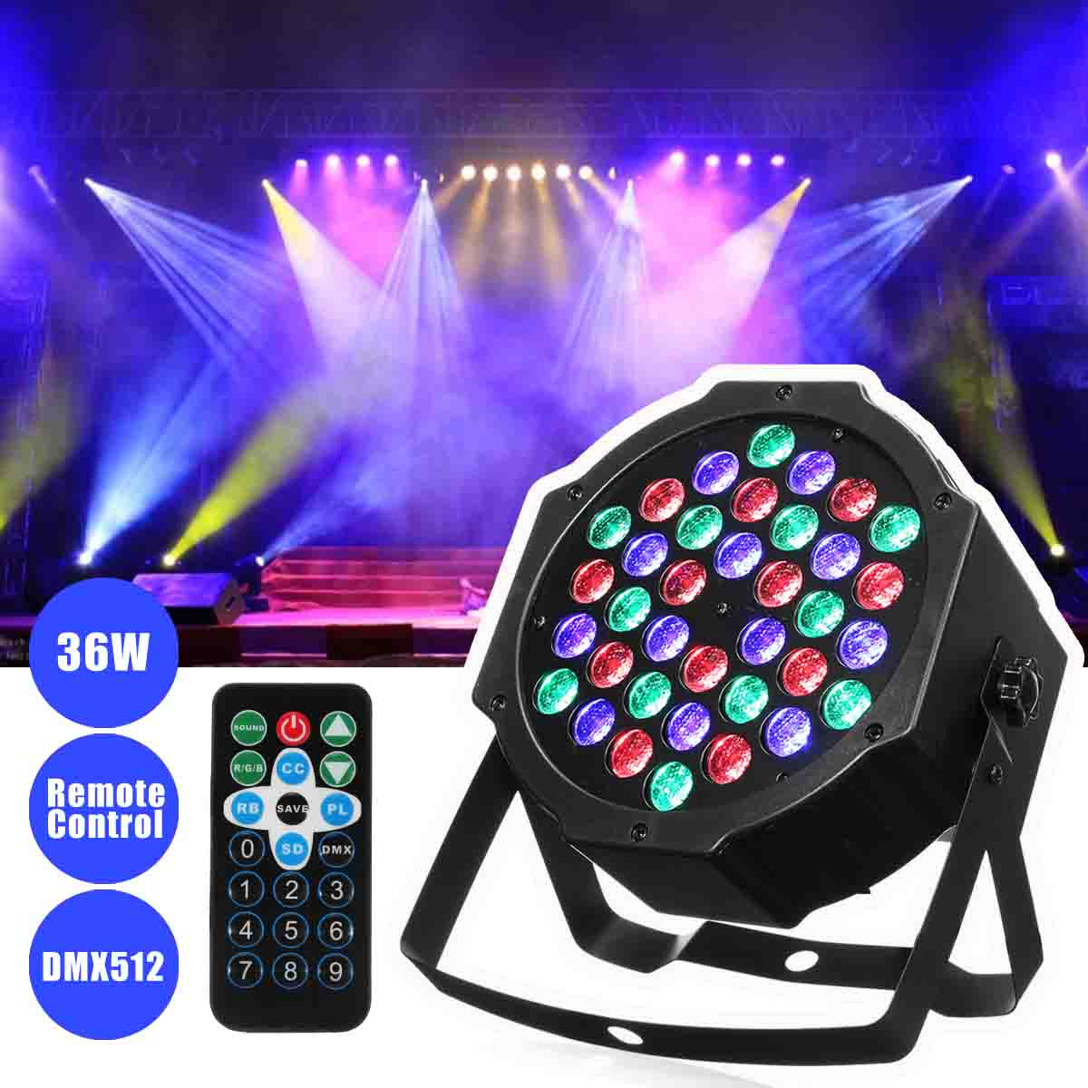 36 x 1W LED Stage Lighting Effect By IR Remote Control DMX512 For DJ Disco Home Party Light<br>