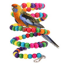 Colorful Bird Parrot Swing Cage Toy Parakeet Budgie Lovebird Woodens Birds Parrots Chew Bite Toy Cage Papegaaien Speelgoed S M L(China)
