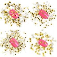 1000PCS/LOT New 3D Metal Nail Art Decorations Gold Silver Rivet Nail Charms Triangle Star Shape Manicure Accessories WY333-WY344