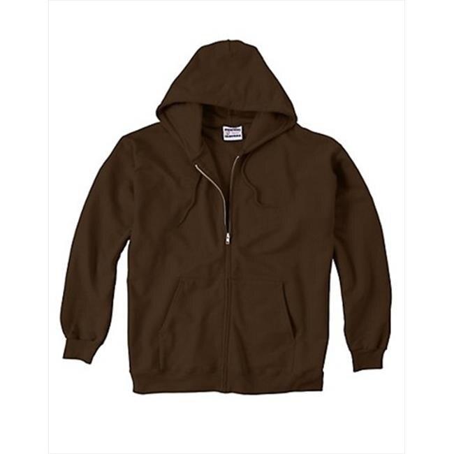 F280 Ultimate Cotton Fleece Full-Zip Adult Hoodie Size 3XL Dark Chocolate Brown