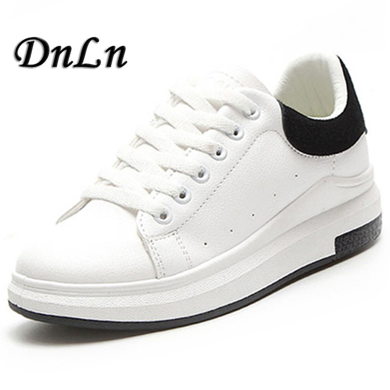 Spring Autumn PU Leather Sneakers Women White Shoes Fashion Lace-up Platform Shoes For women ZT40<br>