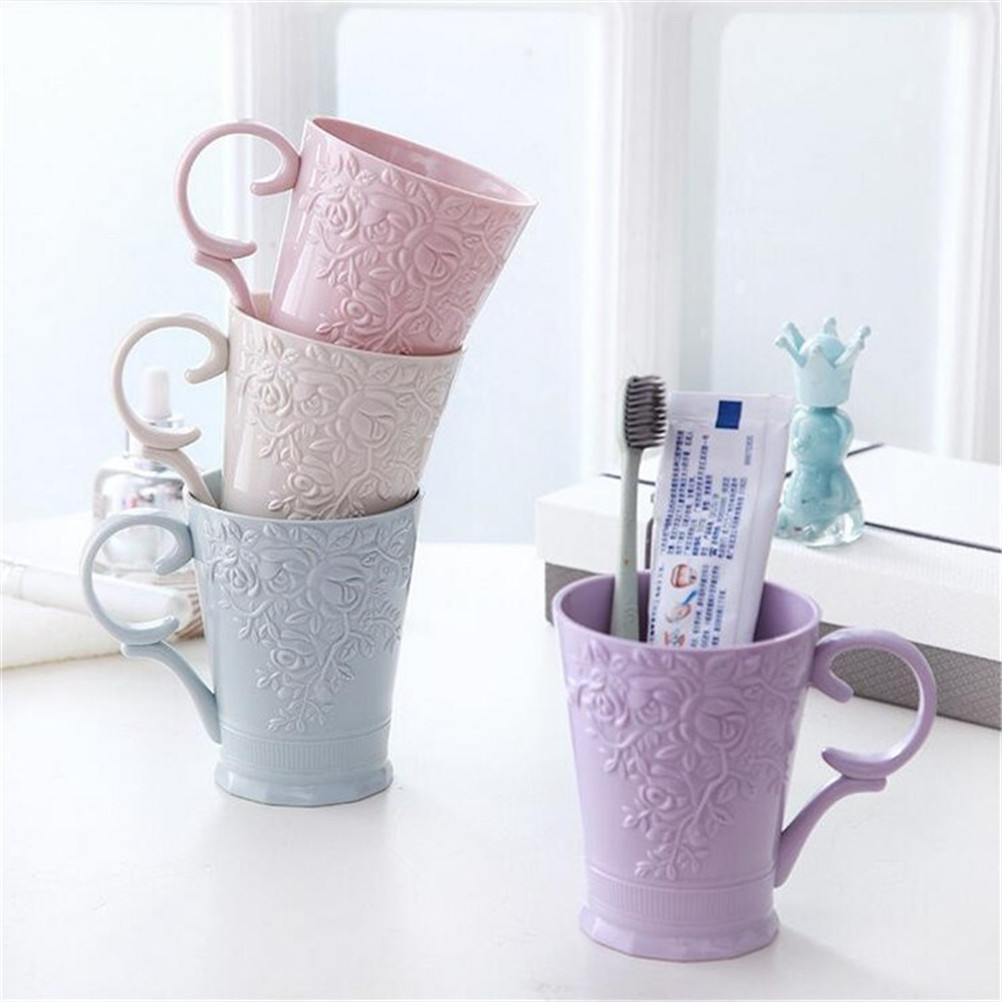 1PC Plastic Milk Cups PP Carved Rinsing Cup Eco-friendly Chinese-style Toothbrush Holder Cup Wash Bathroom Holders