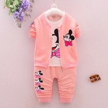 Free shipping 2017 spring baby girls clothing sets 3 pieces suit girls coat +T shirt +pants  Cartoon Minnie Mouse Clothing Sets