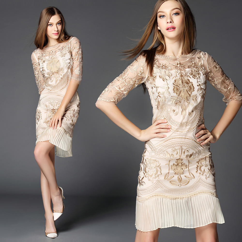 New 2015 summer women gold color embroidery mermaid sexy dress short sleeve knee length luxury brand dresses