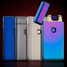 2017 Male gift Creative lighters Double Arc Pulsed Arc Slim Windproof Lighter Creative Personality Electronics usb Lighters