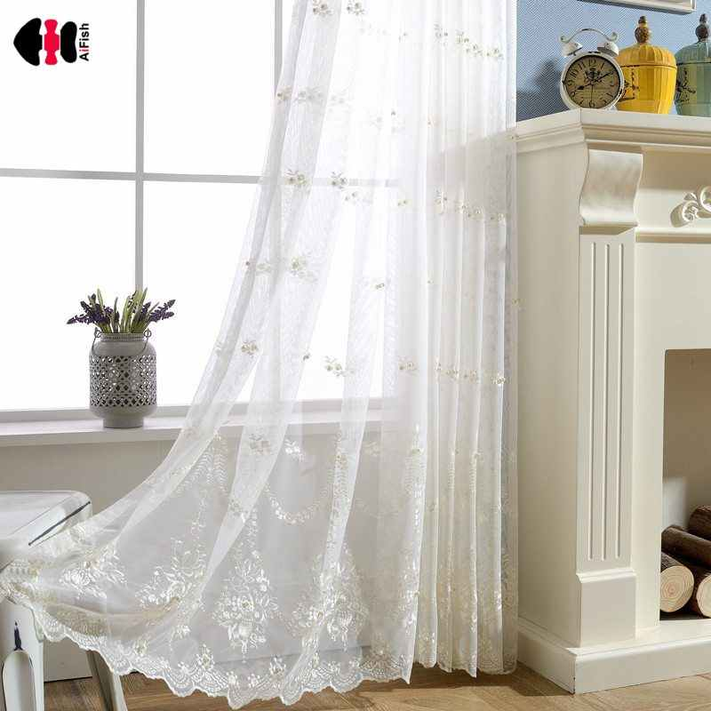Embroidered Maples Freshwater Pearl White Yarn Tulle for Living Dining Room Bedroom Blinds WP267D