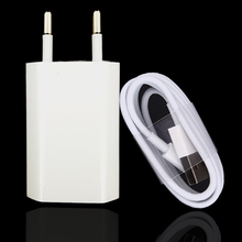 EU Plug White Color Wall AC USB Charger For iPhone 8 Pin USB Charging Cable + Charger Adapter For Apple iPhone 4 5 5S 5C 6 6S 7