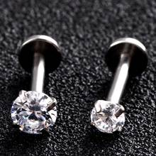 1pc Steel Lip Rings Internal Thread Labret Rings Helix Earrings Piercing Tragus Rings 16G 8mm Silver Bars Prong Gem Body Jewelry(China)