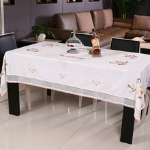 Hand Embroidered Tablecloth White Cotton Table Cloth Cover Decoration Modern Dining Tables Covers Linen Rectangle Round