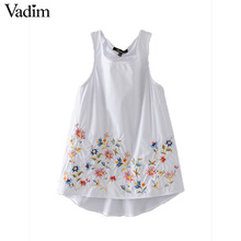 Vadim women sweet floral embroidery summer shirts cotton sleeveless o neck blouse back ring casual European style tops WT466