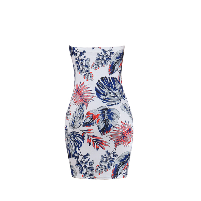Adogirl Leaves Print Strapless Plus Size Summer Dresses Women Sexy Bodycon Mini Night Club Dress High Quality Cheap Vestidos 15