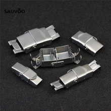 5pcs/lot High Quality Silver Stainless Steel Flat End Fastener Clasps Jewelry Connectors for Leather Cord Jewelry Making F3481