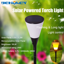 1pcs Behomey Solar Powered Torch Light 96 Led SMD Lamp Beads Flashes with Flame Effect Warm Light 2800K IP65 Garden Lighting(China)