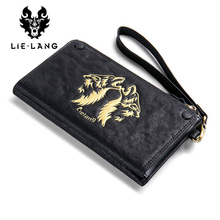 LIELANG Genuine Leather Men Wallet Long Purse Men's Zipper Wallets Fashion Male Clutch Phone Card Holder Coin Purse Money Bag(China)