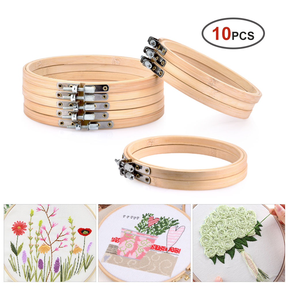 Cross Stitch Machine Bamboo Frame Embroidery Hoop Ring Diy Needlecraft Round Loop Hand Sewing Tool Accessory 12-14cm