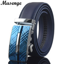 MUSENGE Belt Leather Belt Men Designer Belts Men High Quality Cinturones Hombre Ceinture Homme Cinto Strap Automatic Buckle Blue