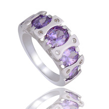 SHUANGR Silver-Color Jewelry Purple Oval Cubic Zirconia charming party finger rings For Women TA269/TB156/G380