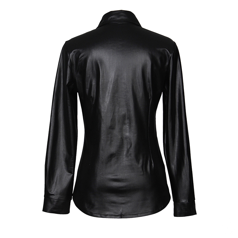 Kostlich Sexy Pu Leather Long Sleeve Blouse Women Shirts Fashion Spring Autumn Women Tops Black Red Ladies Blouses Casual Shirt (26)