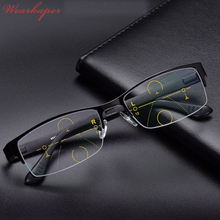 WEARKAPER Retro Eyewear Smart zoom Half Frame Progressive Reading Glasses Men Women Presbyopia Hyperopia Multifocal Glasse(China)