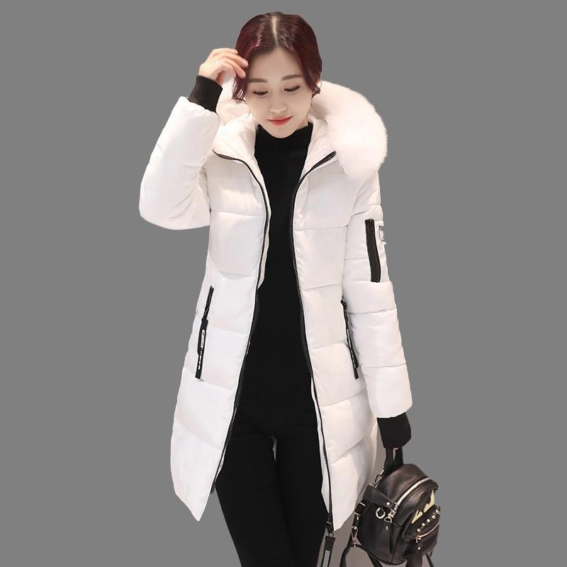 2017 Women Winter Jackets Pockets Zippers Slim Hooded Down Cotton Jacket Fur Collar Women Winter Coat Top Warm Parkas AA364Одежда и ак�е��уары<br><br><br>Aliexpress